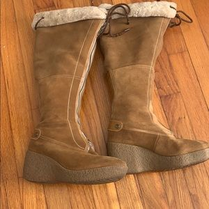 Cole Haan suede tall boots with fur lining. 7 1/2